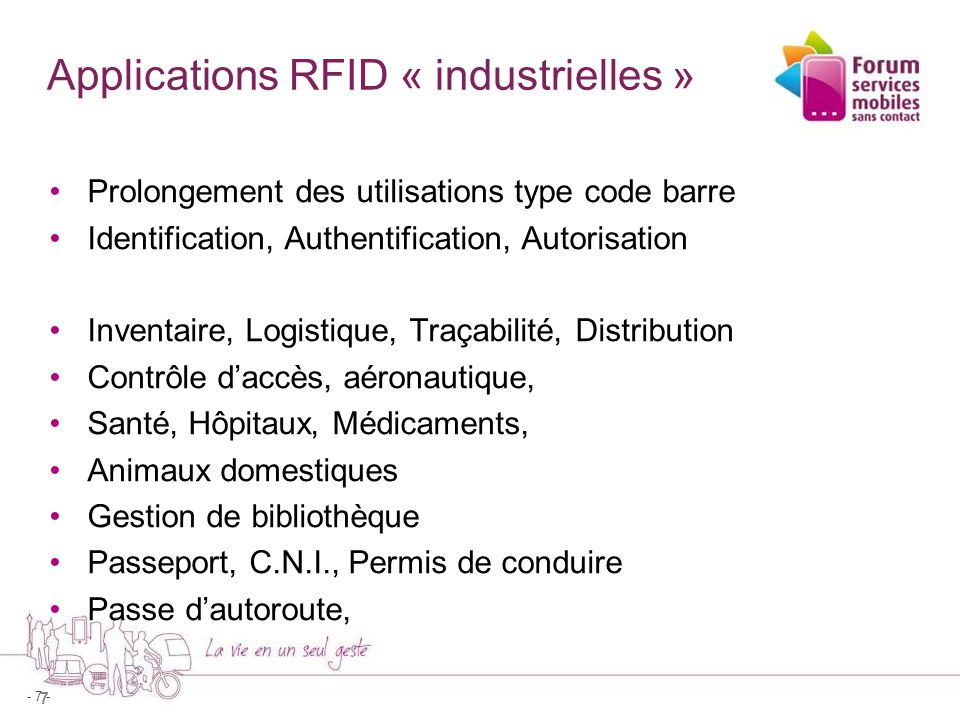 Applications RFID « industrielles »