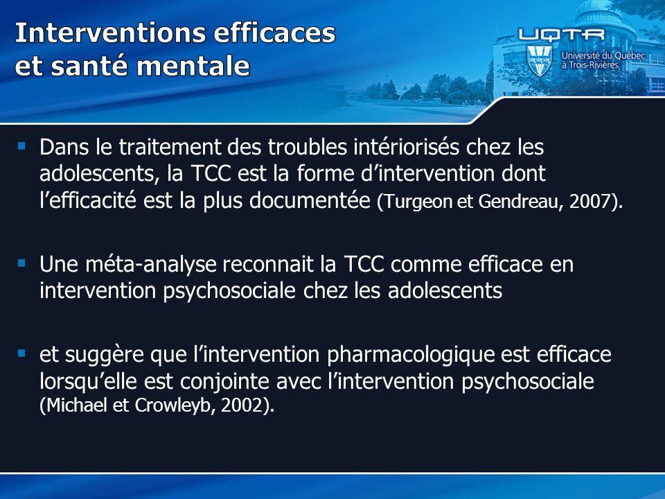 Interventions efficaces et santé mentale