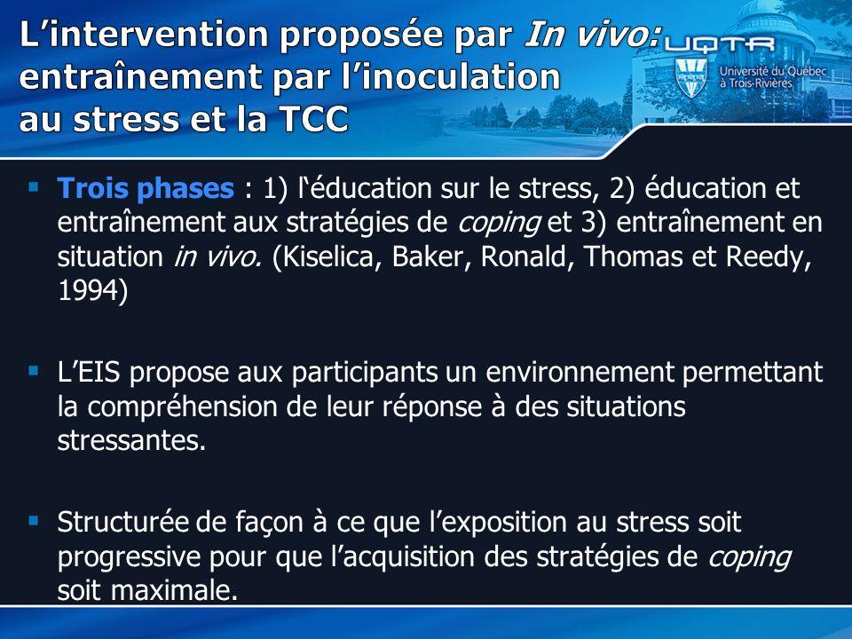L'intervention proposée par In vivo: entraînement par l'inoculation au stress et la TCC