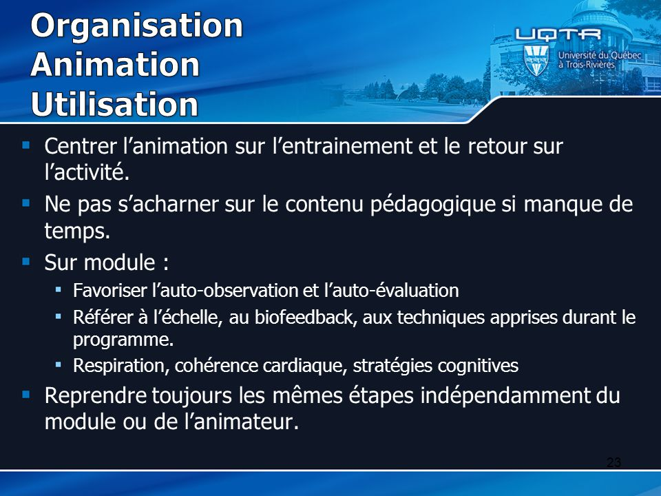 Organisation Animation Utilisation