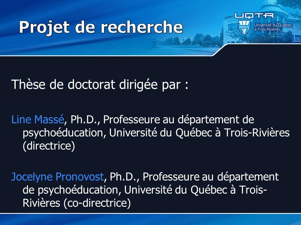 Projet de recherche Thèse de doctorat dirigée par :