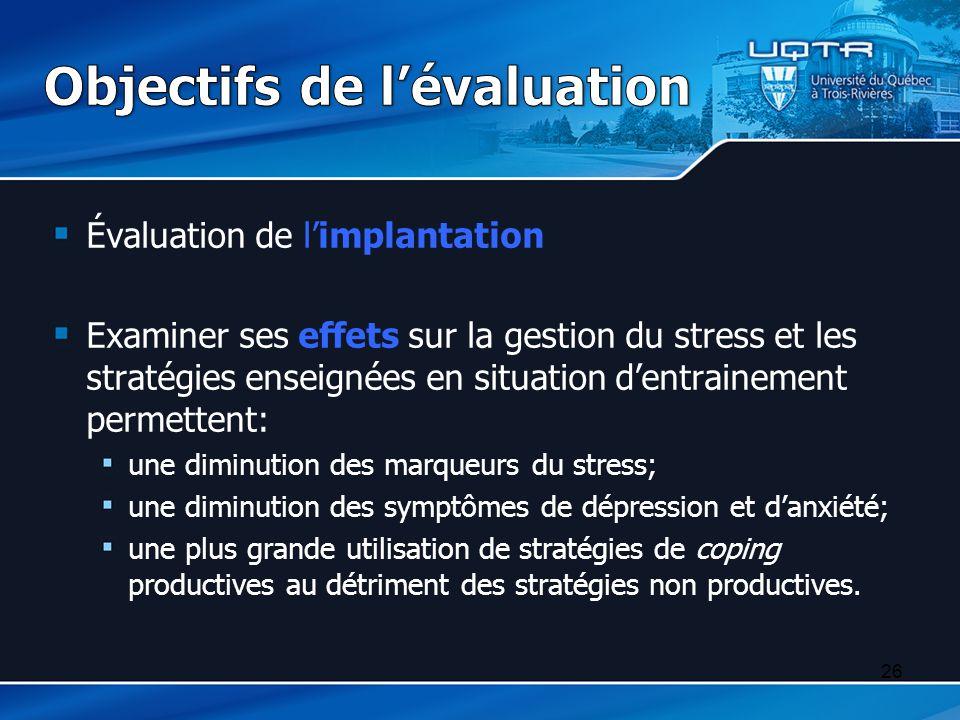 Objectifs de l'évaluation