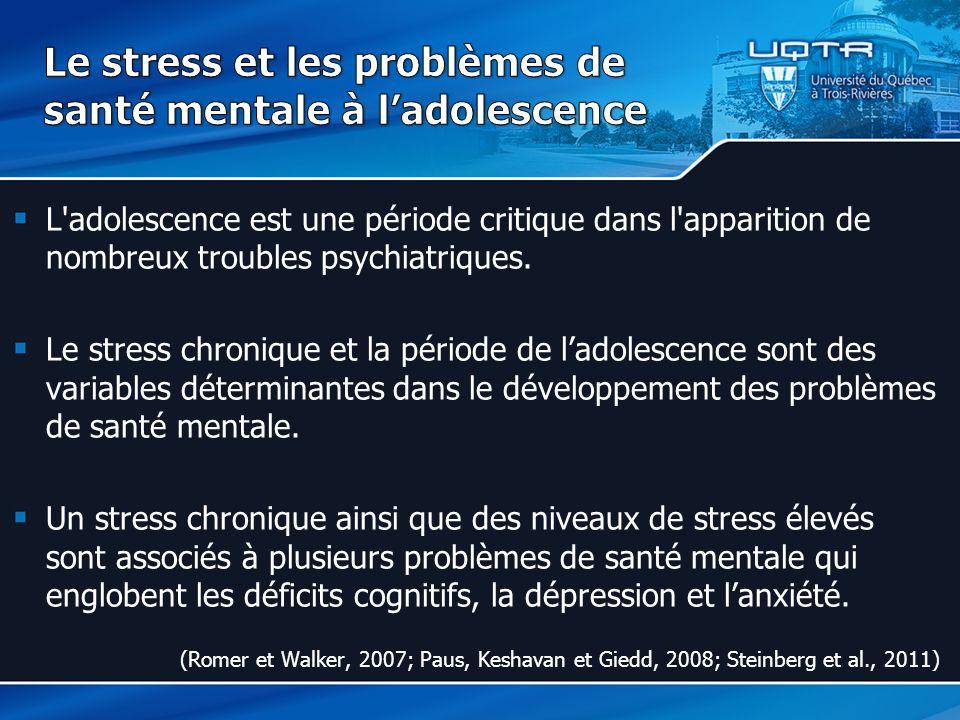 Le stress et les problèmes de santé mentale à l'adolescence