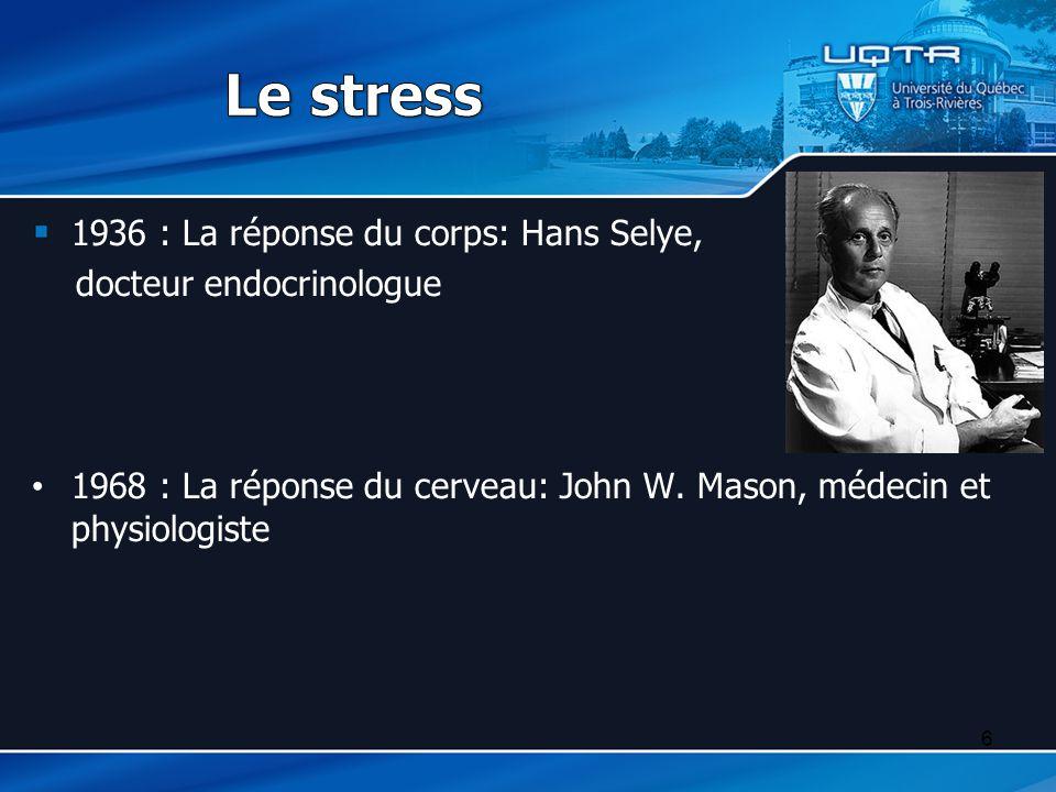 Le stress 1936 : La réponse du corps: Hans Selye,