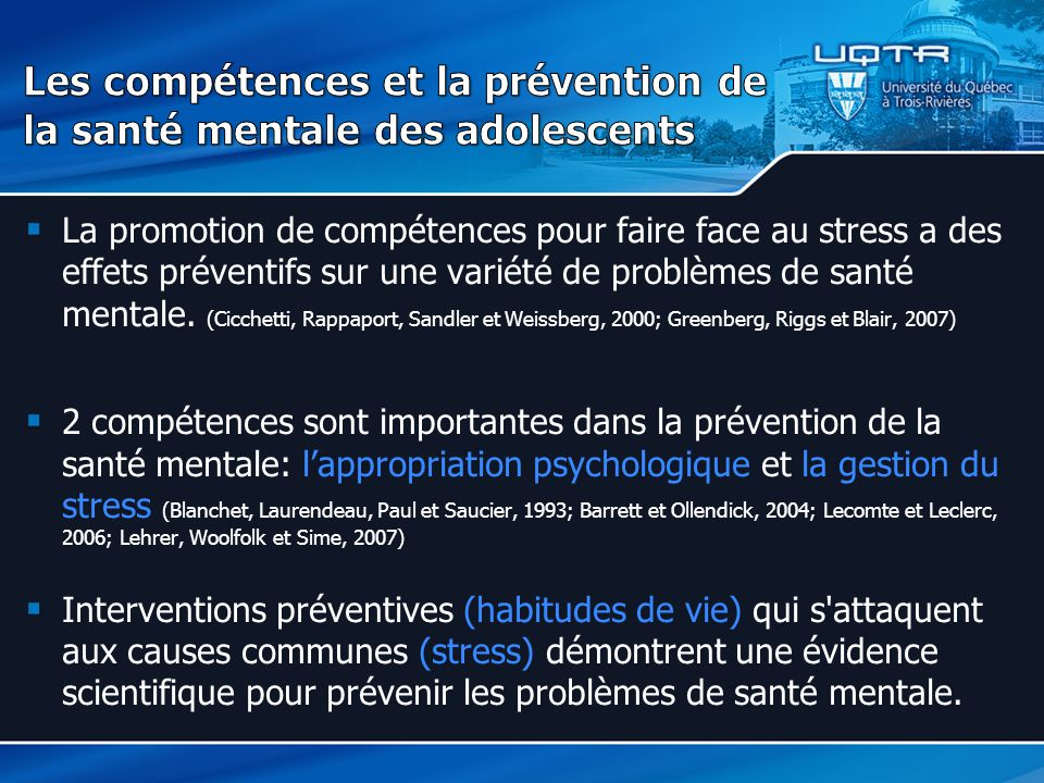 Les compétences et la prévention de la santé mentale des adolescents