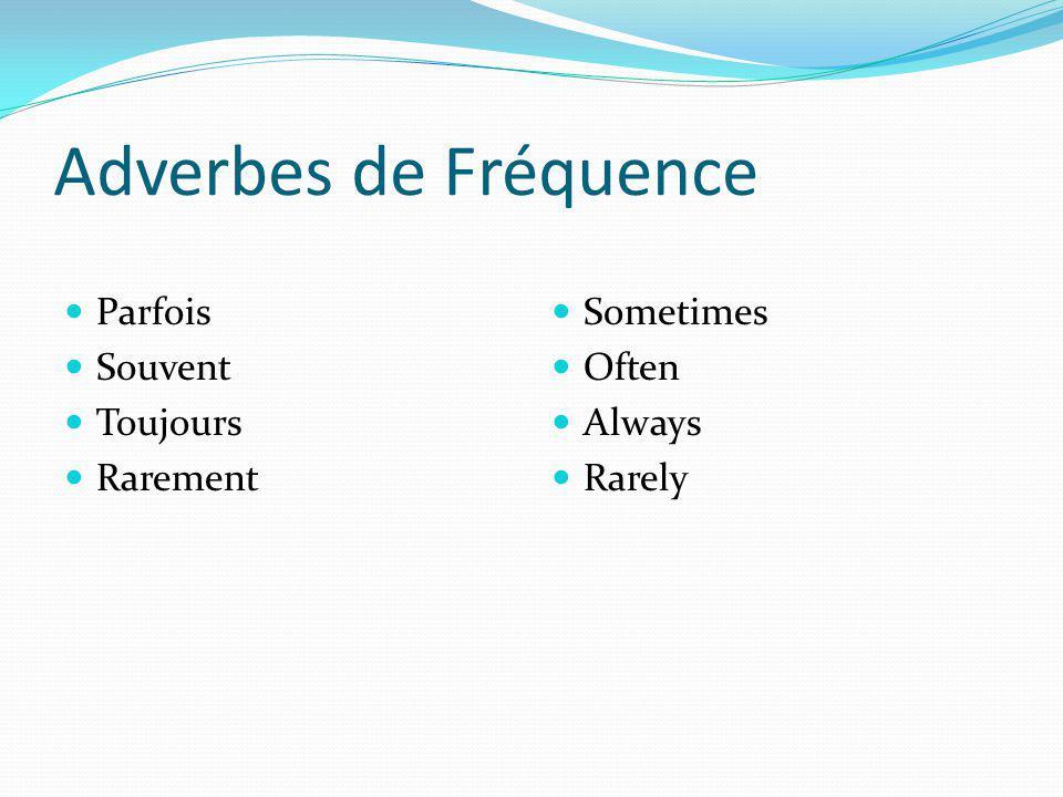 Adverbes de Fréquence Parfois Souvent Toujours Rarement Sometimes