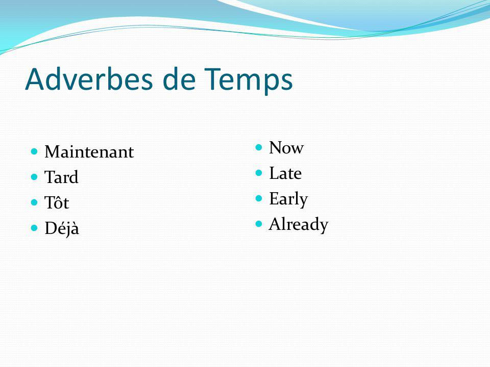 Adverbes de Temps Now Late Early Already Maintenant Tard Tôt Déjà