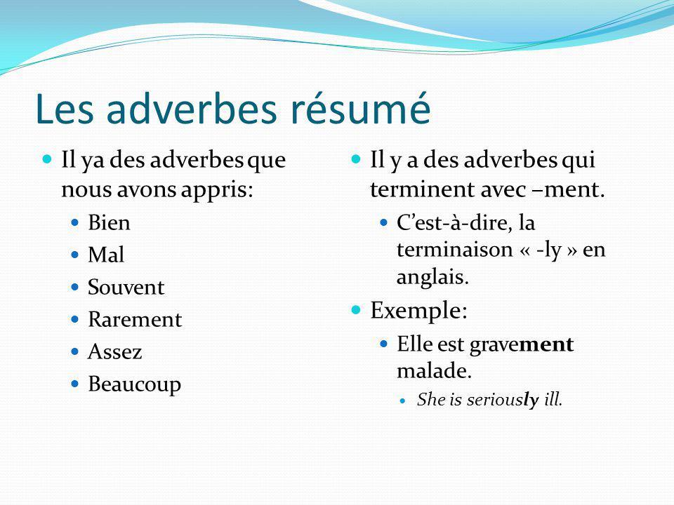 Les adverbes résumé Il ya des adverbes que nous avons appris: