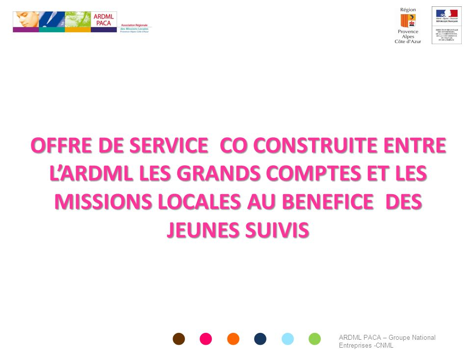 OFFRE DE SERVICE CO CONSTRUITE ENTRE L'ARDML LES GRANDS COMPTES ET LES MISSIONS LOCALES AU BENEFICE DES JEUNES SUIVIS