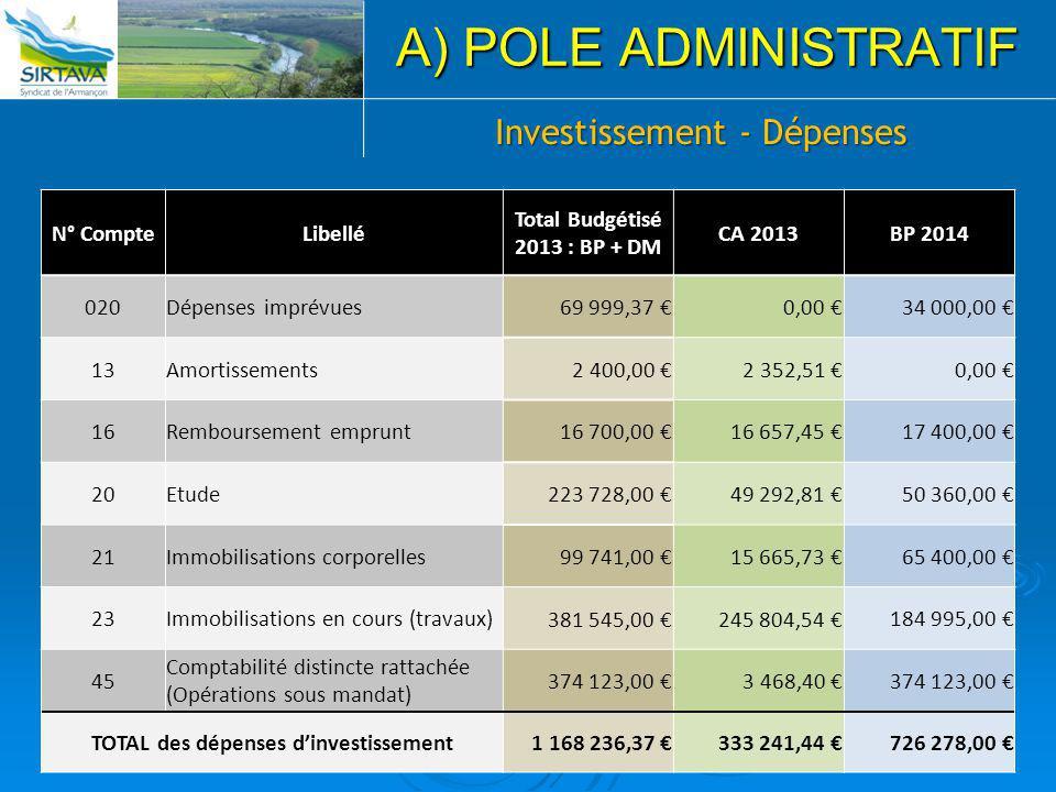Total Budgétisé 2013 : BP + DM TOTAL des dépenses d'investissement