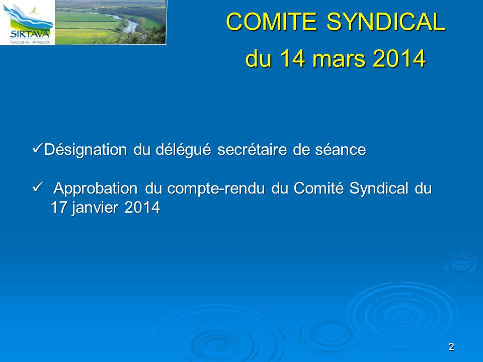 COMITE SYNDICAL du 14 mars 2014