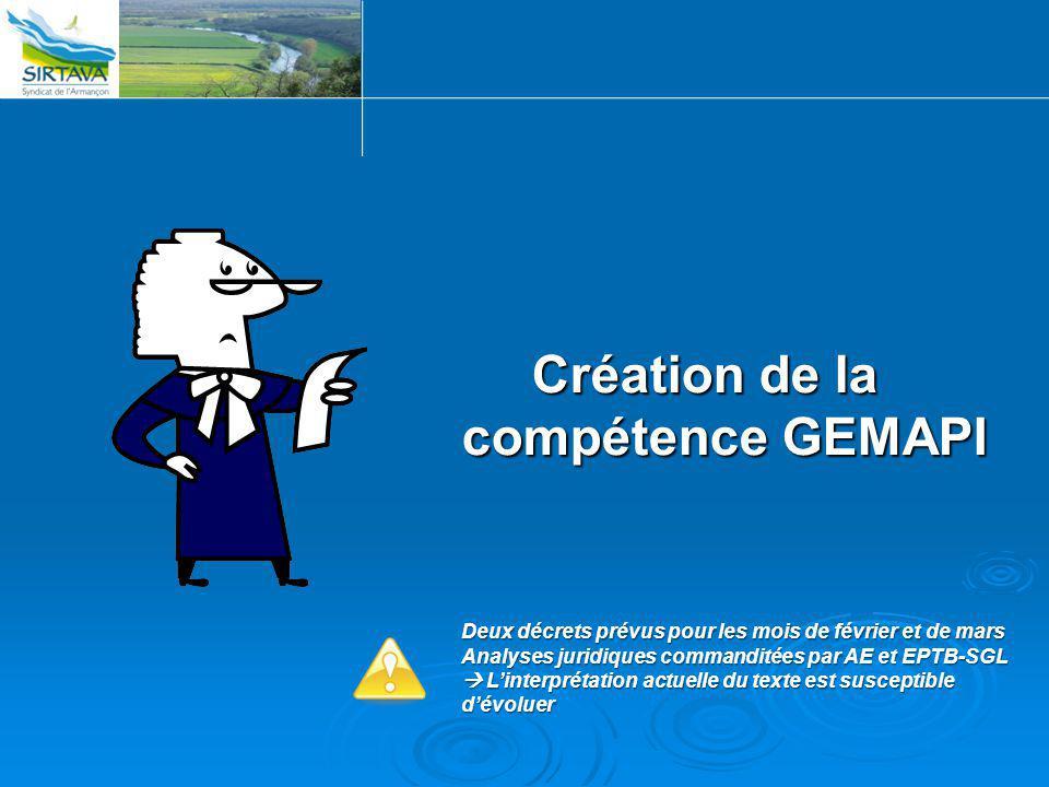 Création de la compétence GEMAPI