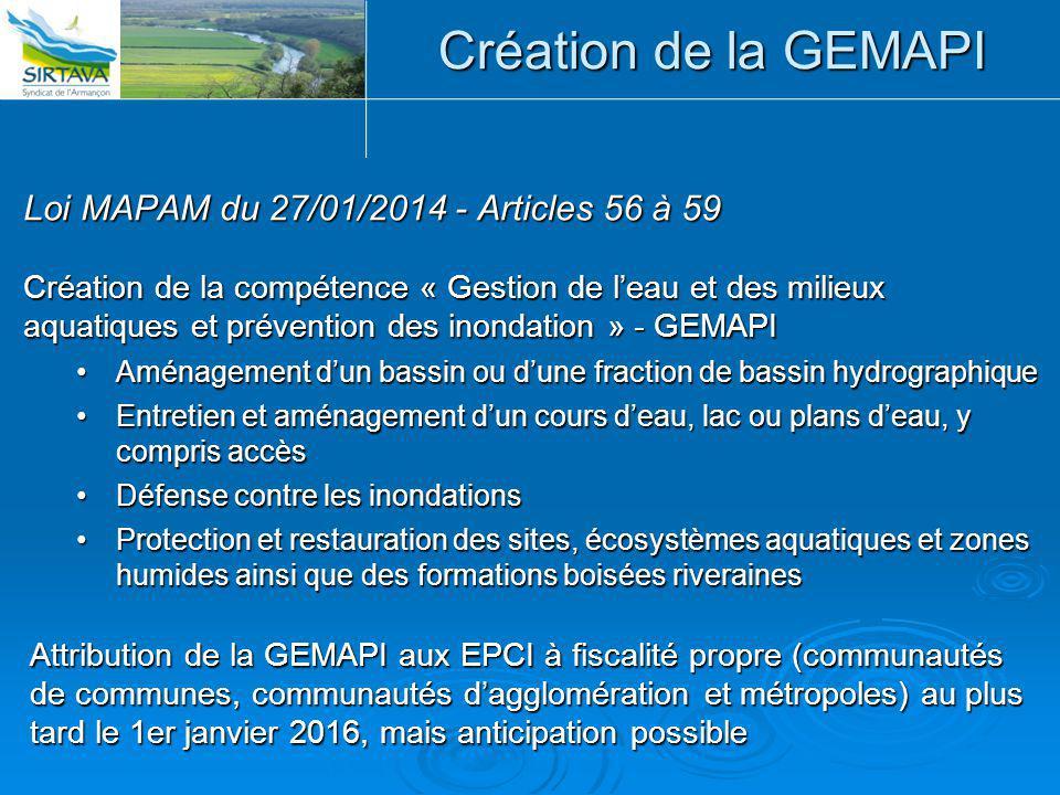 Création de la GEMAPI Loi MAPAM du 27/01/2014 - Articles 56 à 59