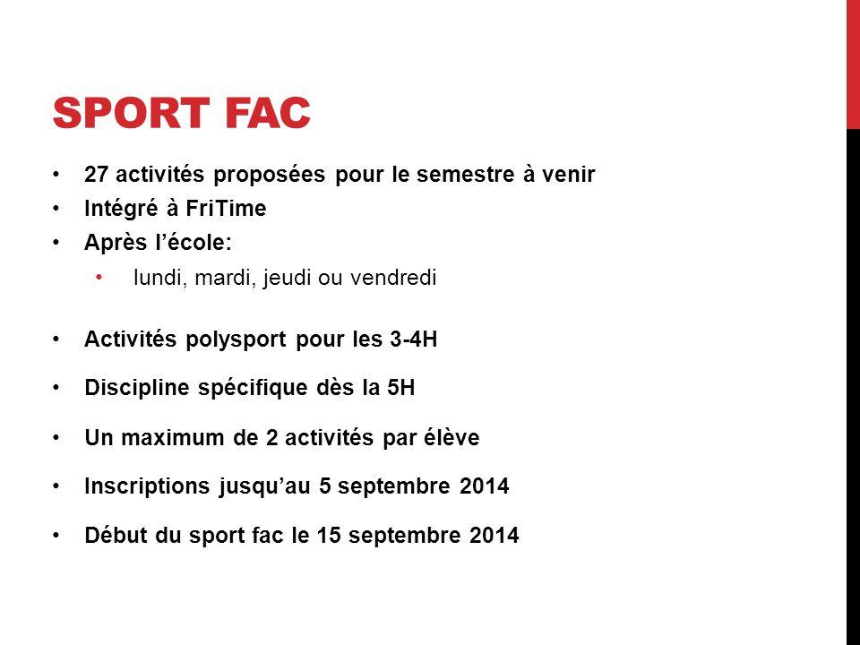 SPORT FAC 27 activités proposées pour le semestre à venir