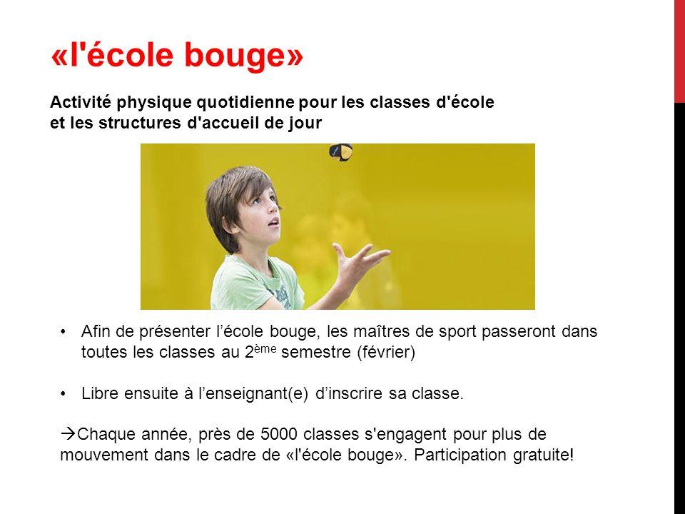 «l école bouge» Activité physique quotidienne pour les classes d école et les structures d accueil de jour.