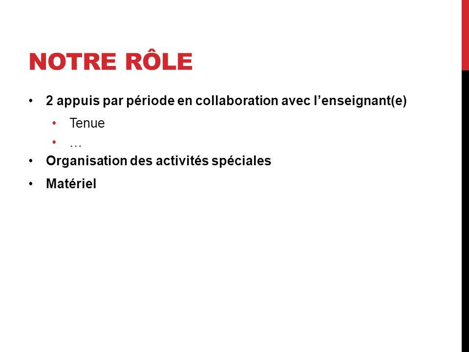 NOTRE RÔLE 2 appuis par période en collaboration avec l'enseignant(e)