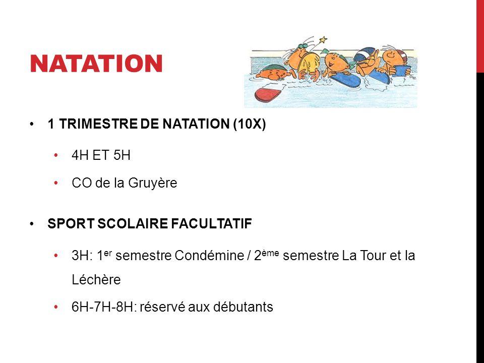NATATION 1 TRIMESTRE DE NATATION (10X) 4H ET 5H CO de la Gruyère