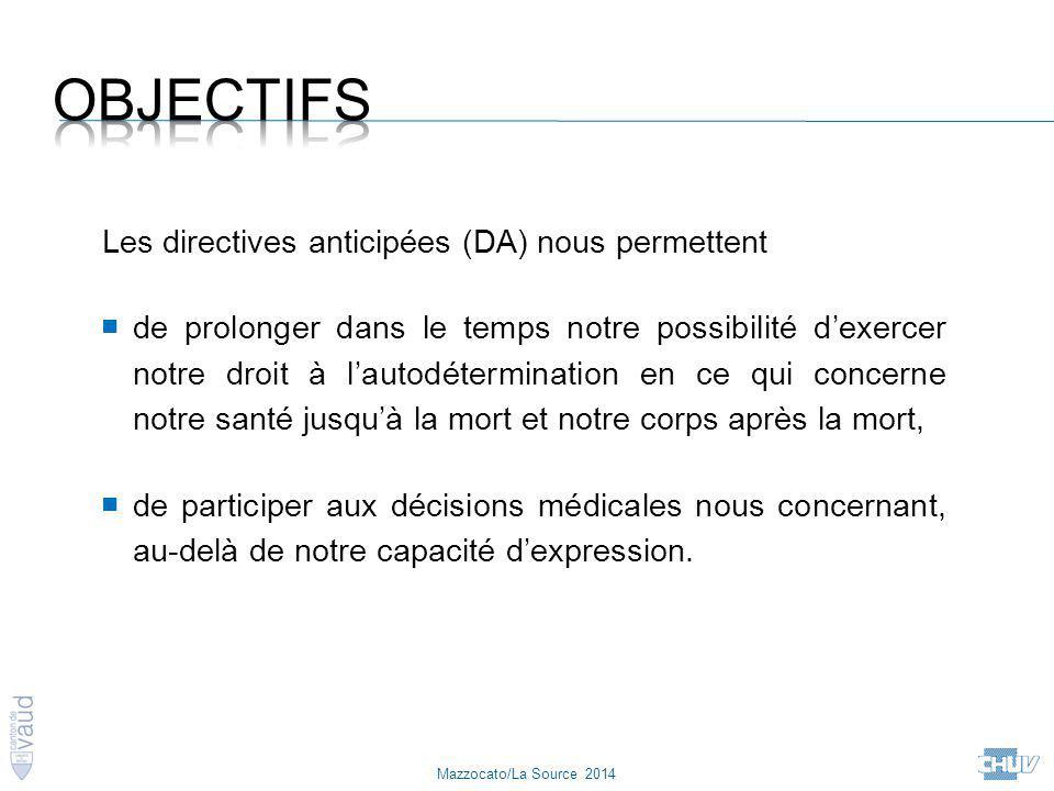 Objectifs Les directives anticipées (DA) nous permettent