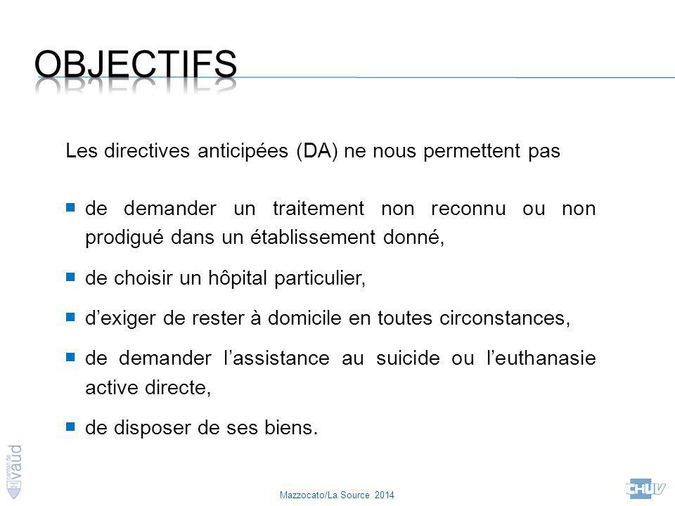 Objectifs Les directives anticipées (DA) ne nous permettent pas