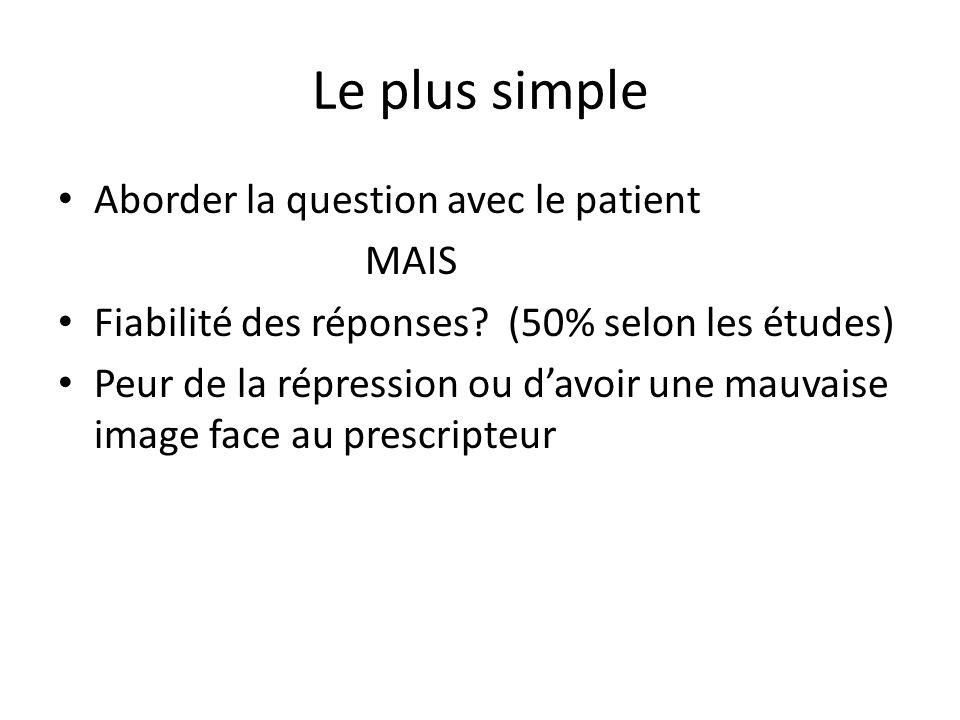 Le plus simple Aborder la question avec le patient MAIS
