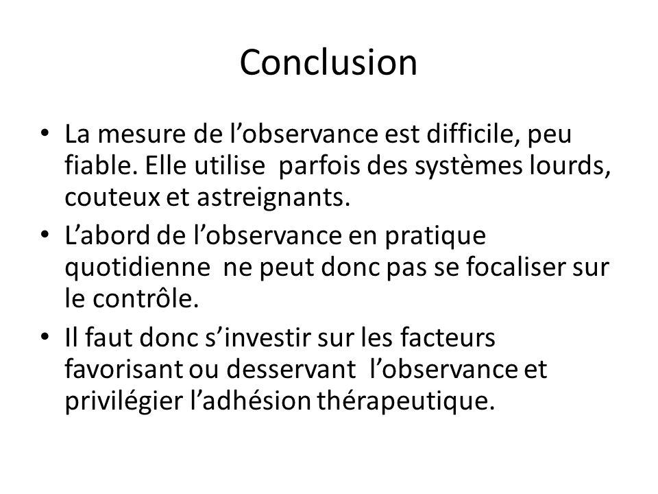 Conclusion La mesure de l'observance est difficile, peu fiable. Elle utilise parfois des systèmes lourds, couteux et astreignants.