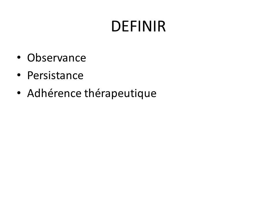 . DEFINIR Observance Persistance Adhérence thérapeutique