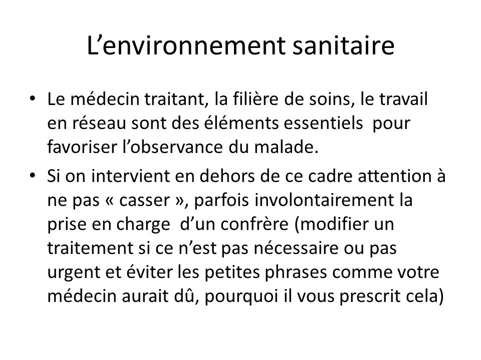 L'environnement sanitaire