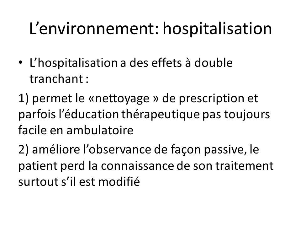 L'environnement: hospitalisation