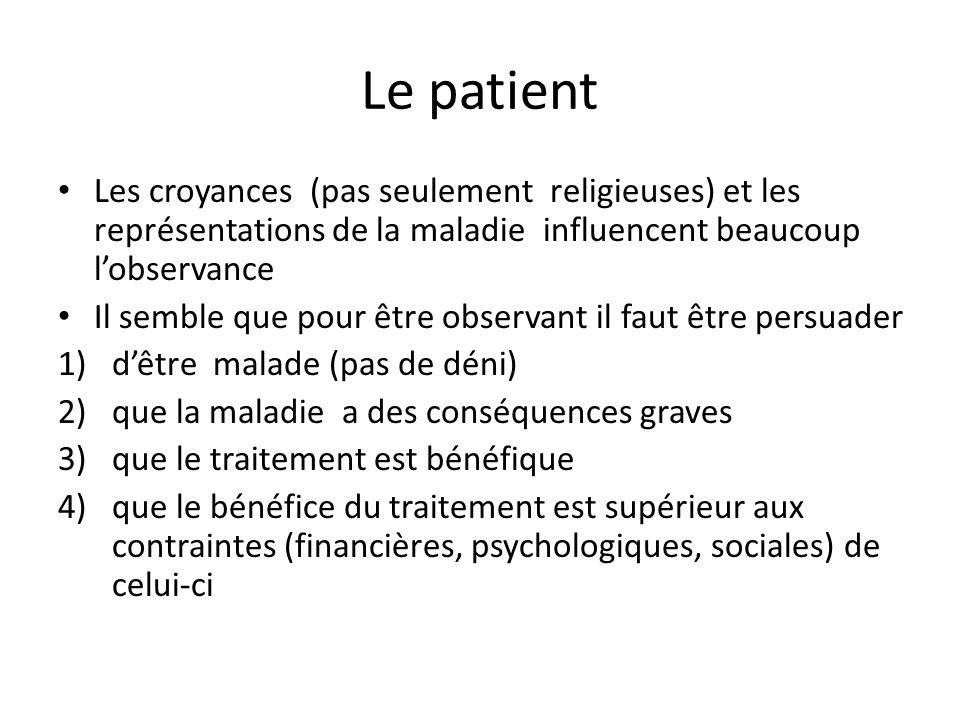 Le patient Les croyances (pas seulement religieuses) et les représentations de la maladie influencent beaucoup l'observance.