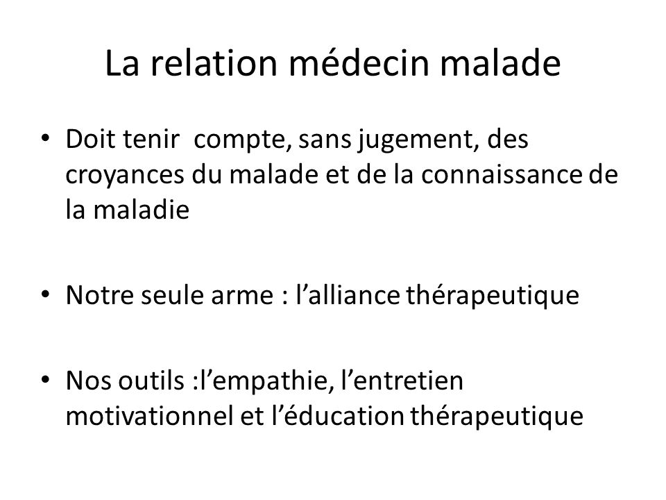 La relation médecin malade