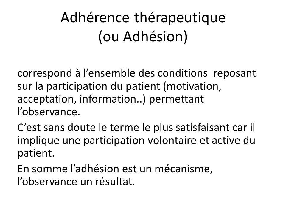 Adhérence thérapeutique (ou Adhésion)