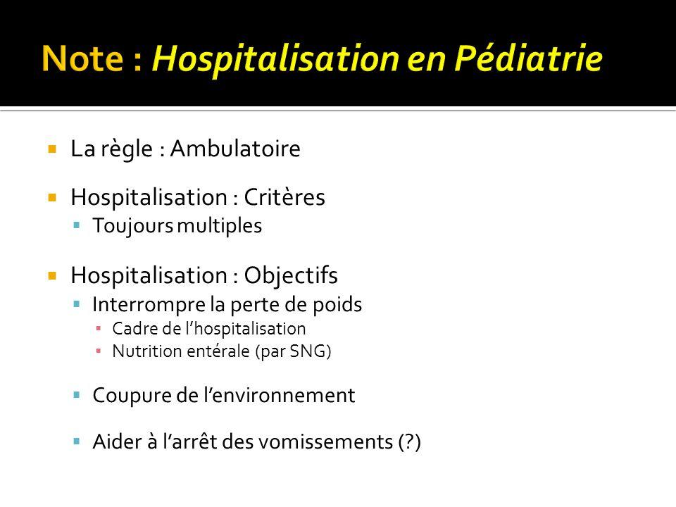 Note : Hospitalisation en Pédiatrie