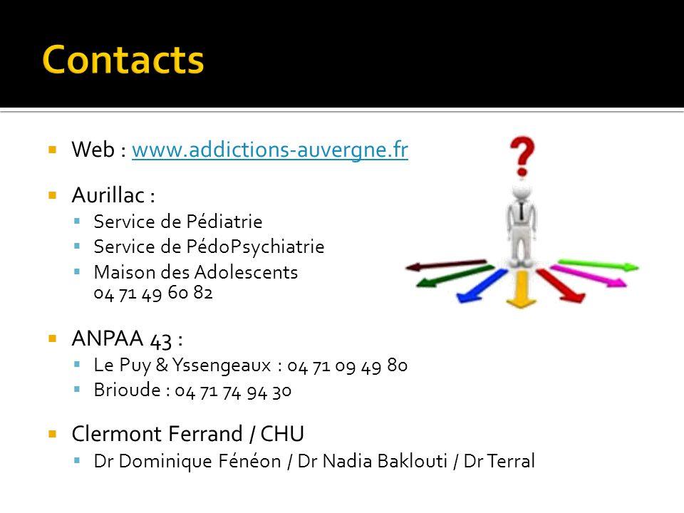 Contacts Web : www.addictions-auvergne.fr. Aurillac : Service de Pédiatrie. Service de PédoPsychiatrie.