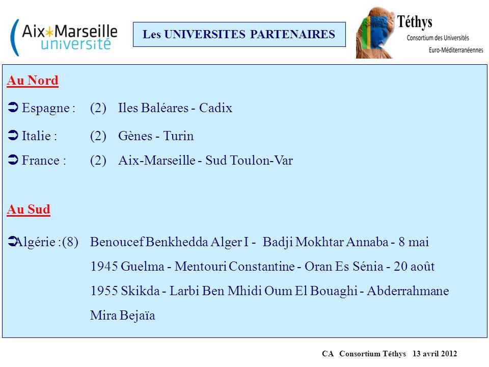 Les UNIVERSITES PARTENAIRES CA Consortium Téthys 13 avril 2012