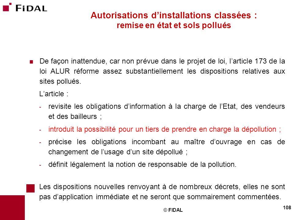 Autorisations d'installations classées : remise en état et sols pollués