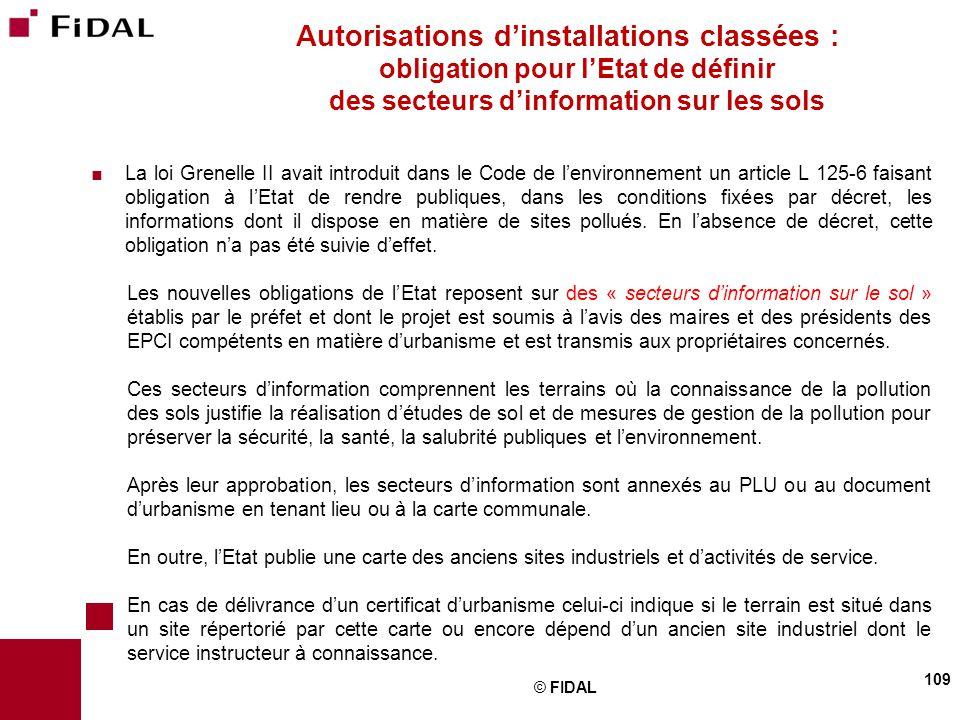 Autorisations d'installations classées : obligation pour l'Etat de définir des secteurs d'information sur les sols