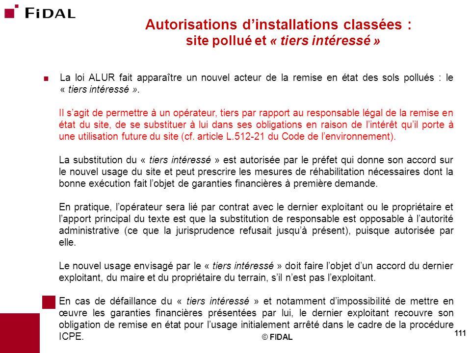 Autorisations d'installations classées : site pollué et « tiers intéressé »