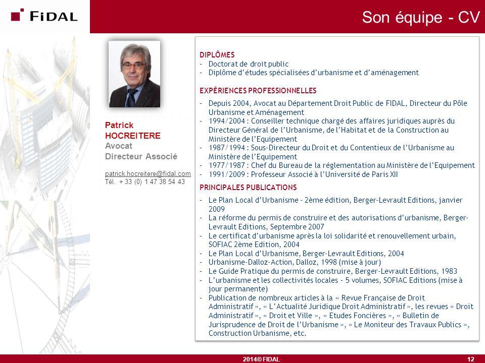 Son équipe - CV Patrick HOCREITERE Avocat Directeur Associé DIPLÔMES