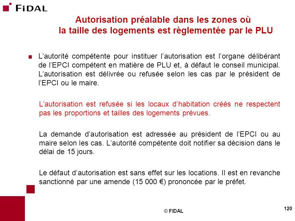 Autorisation préalable dans les zones où la taille des logements est règlementée par le PLU