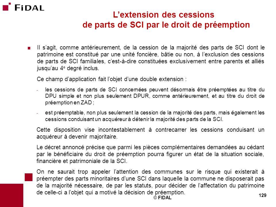 L'extension des cessions de parts de SCI par le droit de préemption