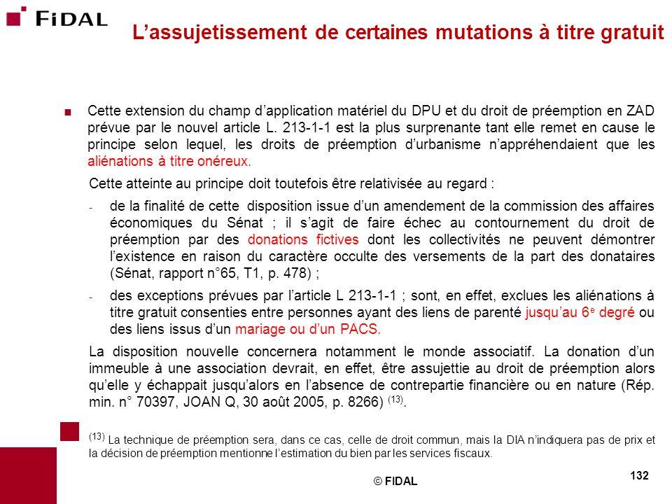 L'assujetissement de certaines mutations à titre gratuit