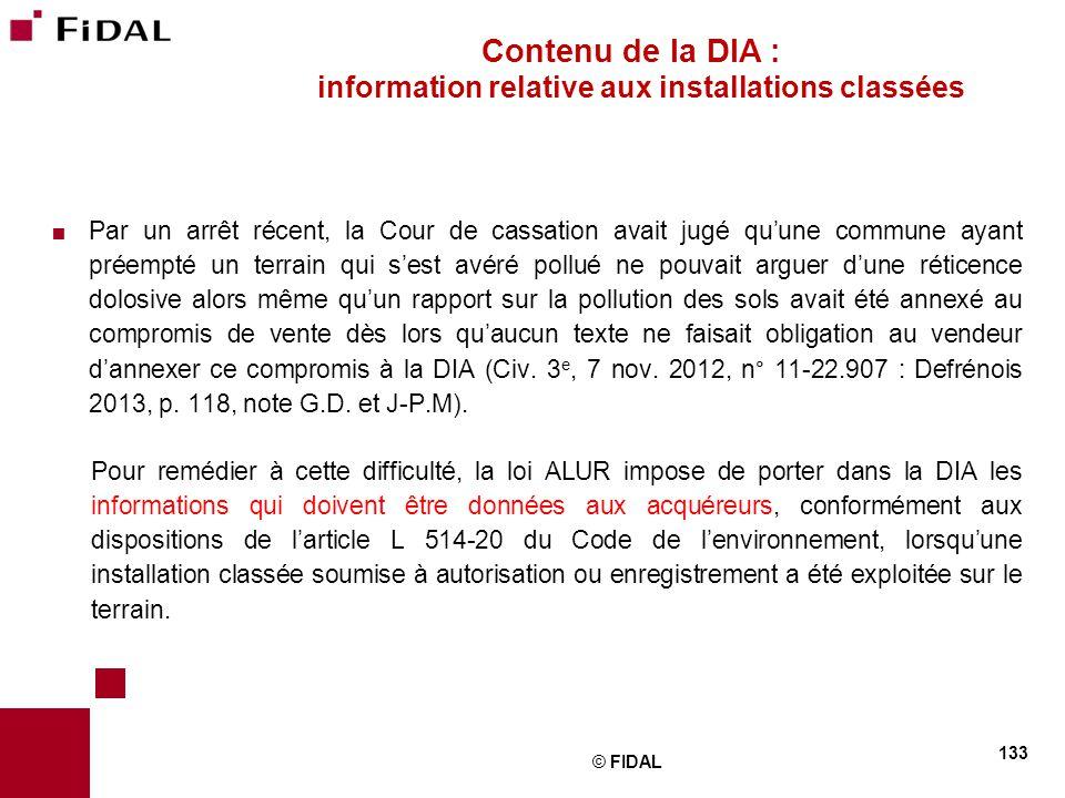 Contenu de la DIA : information relative aux installations classées