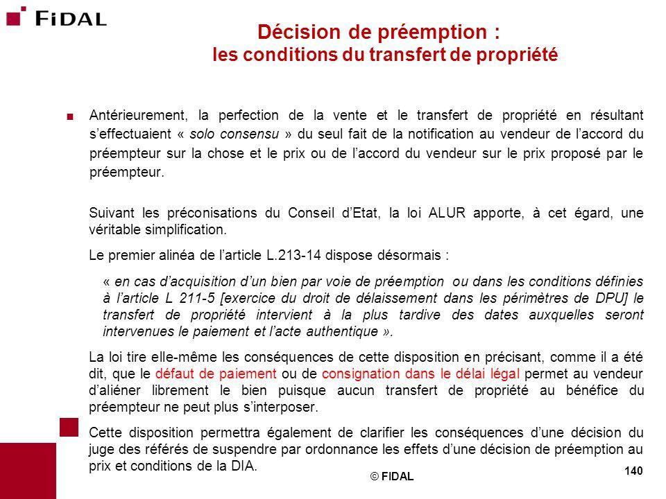 Décision de préemption : les conditions du transfert de propriété