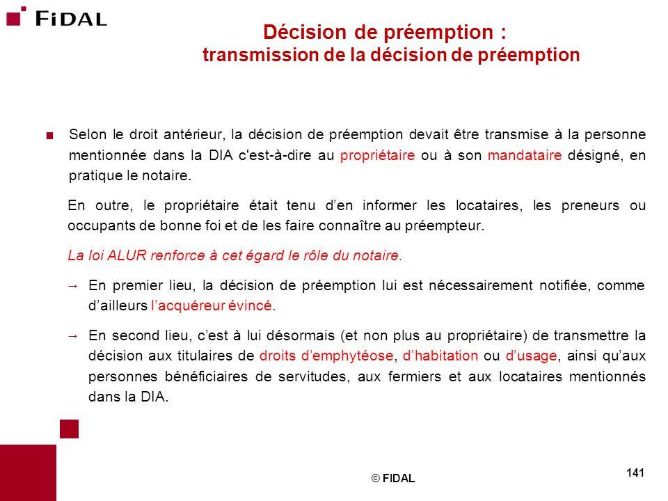 Décision de préemption : transmission de la décision de préemption