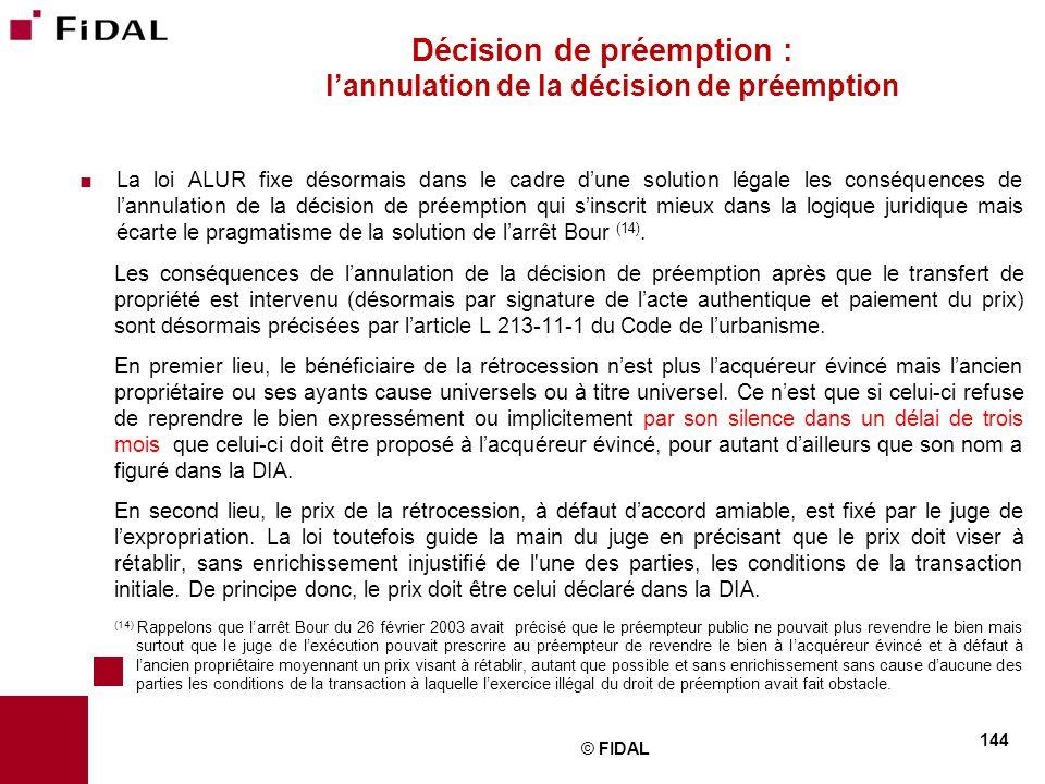 Décision de préemption : l'annulation de la décision de préemption