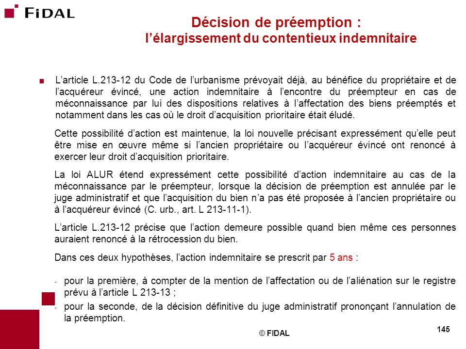 Décision de préemption : l'élargissement du contentieux indemnitaire