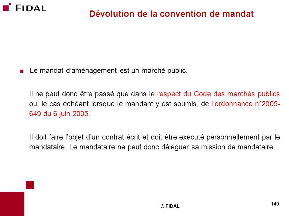 Dévolution de la convention de mandat