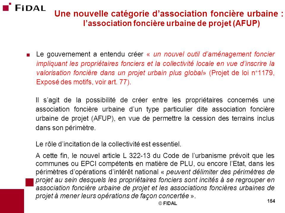Une nouvelle catégorie d'association foncière urbaine : l'association foncière urbaine de projet (AFUP)