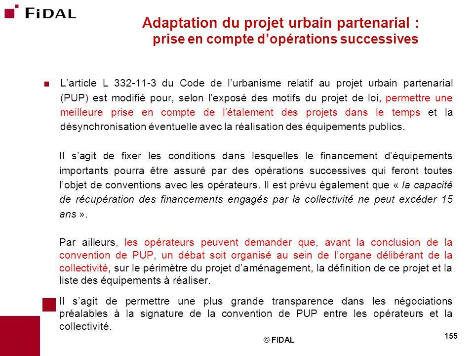 Adaptation du projet urbain partenarial : prise en compte d'opérations successives
