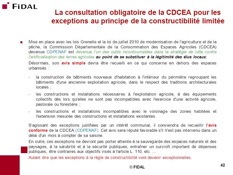 La consultation obligatoire de la CDCEA pour les exceptions au principe de la constructibilité limitée